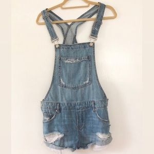 Garage Blue Jean Overall Shorts